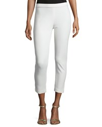 Joan Vass Ponte Slim Ankle Pants Ivory Women's