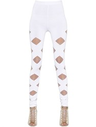 Balmain Cutouts Stretch Viscose Knit Leggings