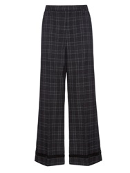 Marc Jacobs Beaded Hem Wide Leg Checked Wool Trousers