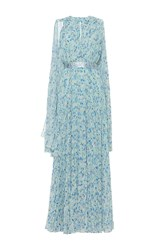 Luisa Beccaria Georgette Printed Plisse Dress With Cape