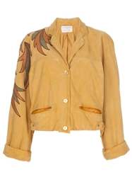 Claude Montana Vintage Suede Short Jacket Yellow And Orange