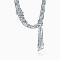 Tiffany And Co. Necklace In Platinum With Round Baguette Pear Shaped Diamonds. Platinum 950 Diamond