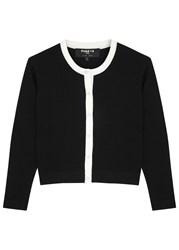 Paule Ka Monochrome Cropped Stretch Knit Cardigan Black And White