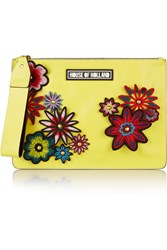 House Of Holland Bag Of Tricks Embellished Leather Clutch Yellow