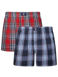 Gant Check Woven Cotton Boxers Pack Of 2 Red Navy