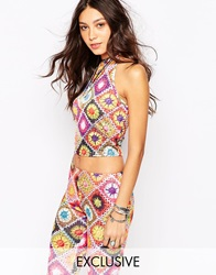 Rokoko Cropped Tie Back Halter Neck Crop Top With 70S Festival Crochet Print Co Ord Multi