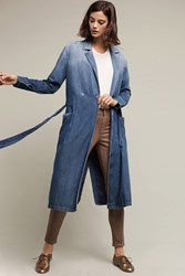 Anthropologie Ag Emerald Denim Coat Denim Medium Blue