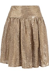 Michael Michael Kors Sequined Tulle Mini Skirt Gold