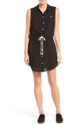 Sandra Ingrish Sleeveless Tie Waist Shirtdress Black