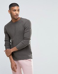 Selected Crew Neck Textured Knitted Jumper Grey
