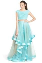 Terani Couture Beaded Top And Organza Two Piece Ballgown Blue