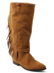 Daniel Riverdale Fringed Knee Boots Brown