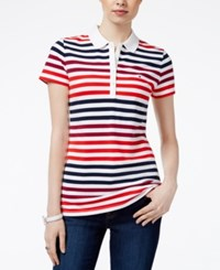 Tommy Hilfiger Sarah Striped Polo Top Core Navy Red Plum