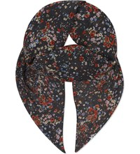 The Kooples Flower And Butterfly Print Scarf Black Red