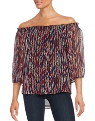 Ella Moss Chevron Print Off The Shoulder Top Berry