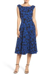 Betsey Johnson Women's Floral Jacquard Fit And Flare Midi Dress Black Royal Blue