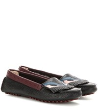 Fendi Leather Moccasins Black
