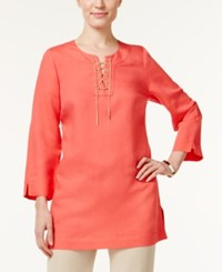 Jm Collection Linen Blend Lace Up Tunic Only At Macy's Coral Tile