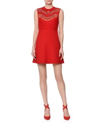 Valentino Sleeveless Beaded Crepe Couture Dress Red