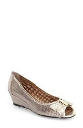 J. Renee Women's J.Renee Dovehouse' Perforated Peep Toe Wedge Taupe Gold Leather