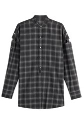 Helmut Lang Wool Shirt With Cut Out Detail On Sleeves Grey