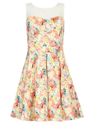 Chase 7 Floral Contrast Yoke Dress Multi Coloured