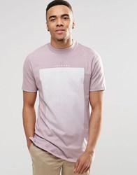 Asos Longline T Shirt With Gradient Text Print And Wide Neck Trim Purple