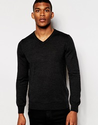 Reiss Merino Wool V Neck Knitted Jumper Charcoal