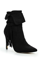 Lost Ink Arella Fringed Stiletto Ankle Boots Black