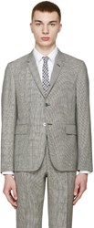 Thom Browne Black And White Prince Of Wales Blazer