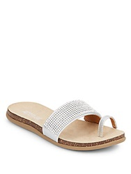 Kenneth Cole Reaction Rhinestone Embellished Faux Leather Toe Strap Sandals Silver