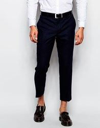 Farah Cropped Trousers In Wool Mix Slim Fit Navy