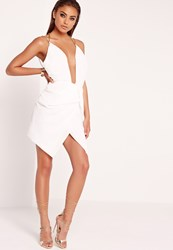 Missguided Pleated Chain Strap Wrap Dress White White