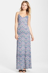 Fraiche By J Print Jersey Tie Back Maxi Dress Navy Multi