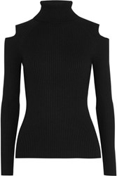 Theory Jemliss Cutout Ribbed Wool Blend Sweater Black