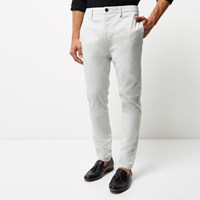 River Island Mens Light Grey Tapered Chino Trousers