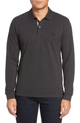 Burberry Men's Brit 'Oxford' Long Sleeve Polo Dark Charcoal Melange