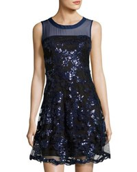 Romeo And Juliet Couture Sequined Embellishment Mesh Dress Blue Metallic