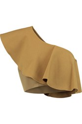 Solace London Sydney One Shoulder Ruffled Crepe Top Mustard