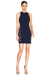 Thierry Mugler Mugler Fitted Cady Mini Dress With Grommets In Blue
