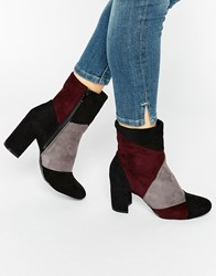 Glamorous Patchwork Heeled Ankle Boots Black Grey Burgundy Multi