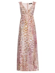 Giles Foxglove Print Crepe Gown Pink Multi