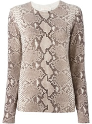 Tory Burch Snakeskin Sweater Nude And Neutrals