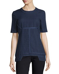 J. Mendel Short Sleeve Eyelet Top Marine Women's