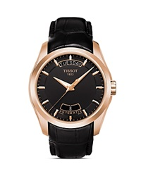 Tissot Couturier Men's Black Automatic Leather Strap Watch 39Mm No Color