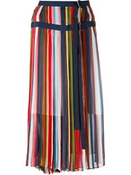 Sacai Striped Midi Skirt Blue