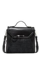 Mackage Structured Croc Arrow Leather Satchel Black