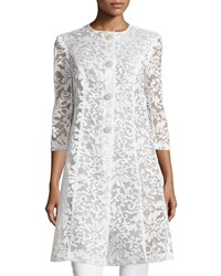 Chetta B Embroidered 3 4 Sleeve Coat Ivory
