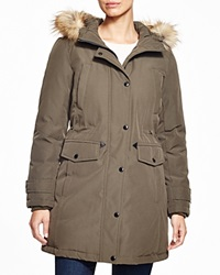 Kors Michael Kors Missy Parka With Faux Fur Trim Olive