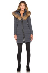 Mackage Kaylina Jacket With Asiatic Raccoon Fur Trim Charcoal